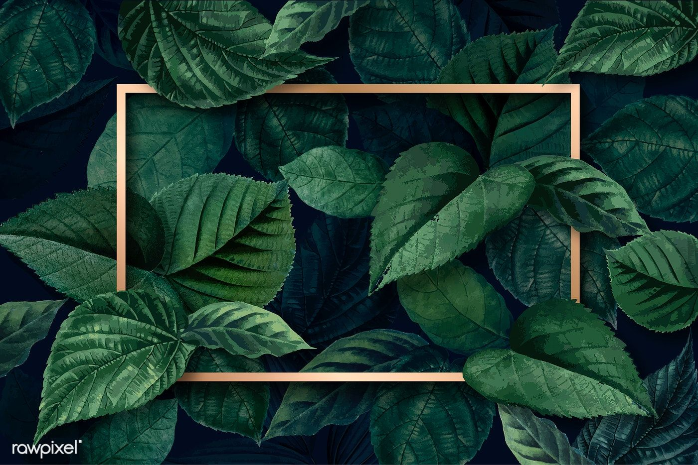 Gold rectangle frame on a metallic green leaves textured