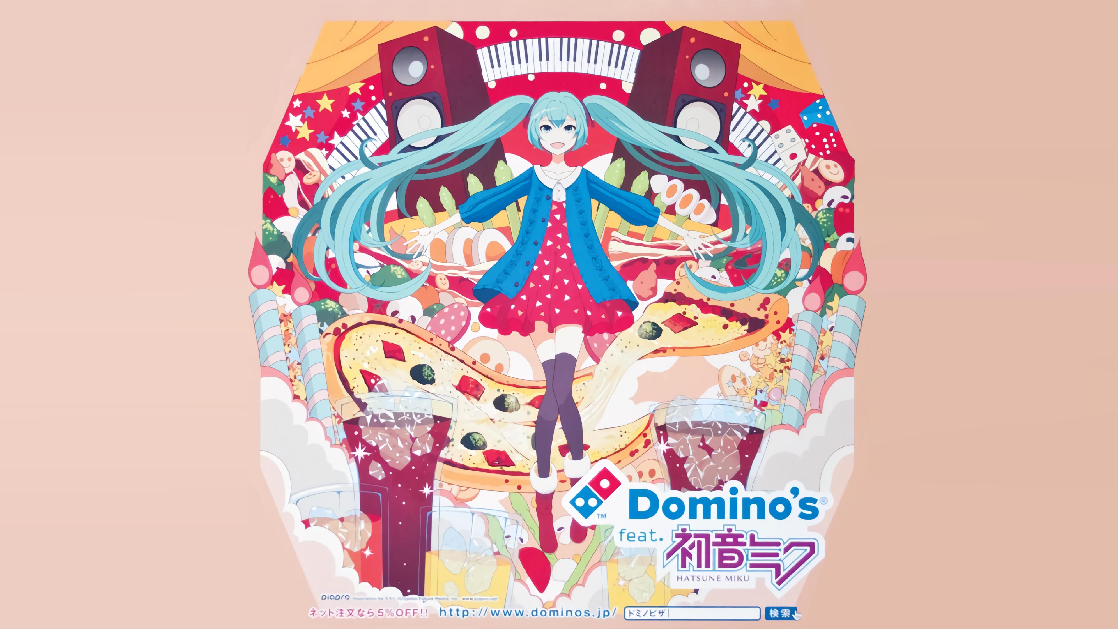 3840x2160 Domino S Feat Hatsune Miku Pizza Box Full Credits To U Luiginub1 Hatsune Miku Domino Active Wallpaper