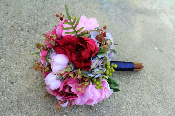 Red pink dusty blue color silk flower bouquet bridal floral red pink and dusty blue color silk flower bouquet used premium silk flowers peony mightylinksfo Gallery