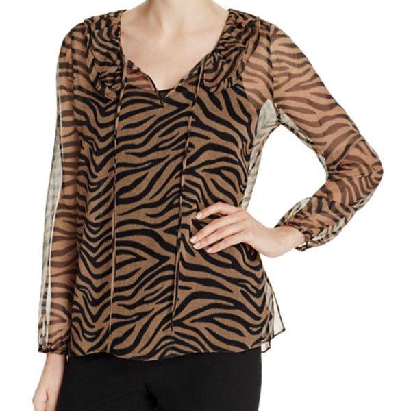 Kobi Halperin Antonia Zebra Print Blouse ($348) ❤ liked on Polyvore featuring tops, blouses, zebra print blouse, brown blouse, peasant blouses, brown top and zebra print top