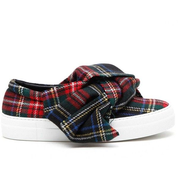 JOSHUA SANDERS 'Tartan Bow' slip-on sneakers (£230) ❤ liked on Polyvore featuring shoes, sneakers, pull-on sneakers, tartan shoes, slip on shoes, slip on trainers and leather shoes