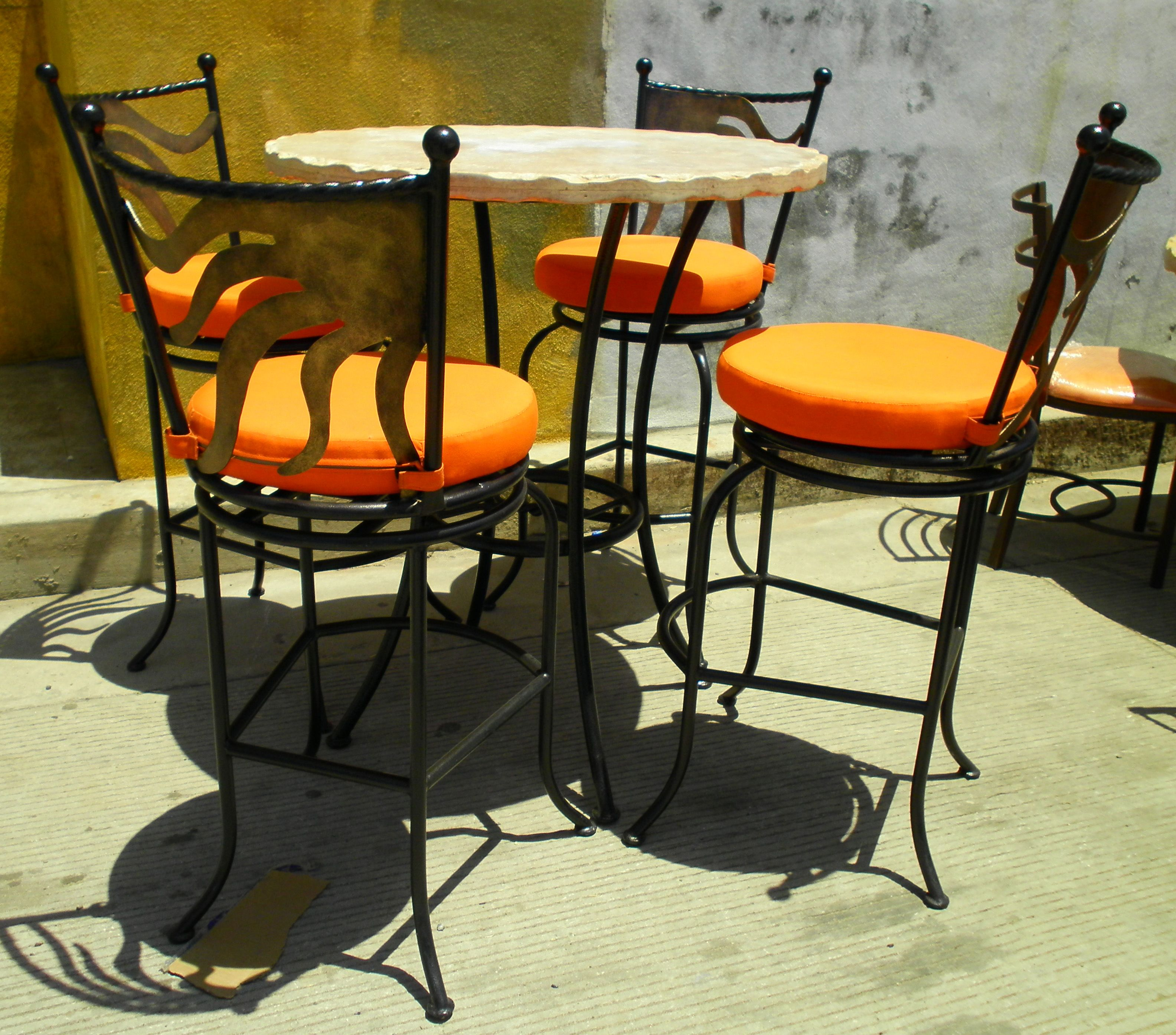 4 Person Pub Table Bistro Set With Cozumel Swivel Bar Stools From Surf Side Patio