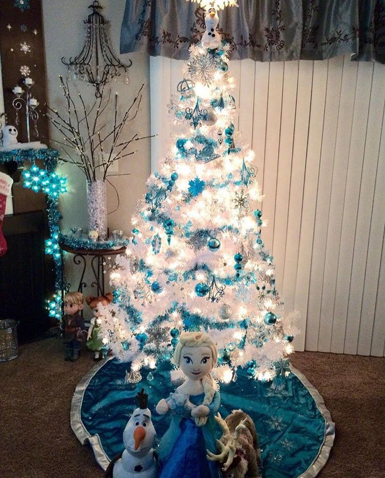Frozen Christmas Decorations.White Frozen Inspired Christmas Tree With Elsa Tree Skirt
