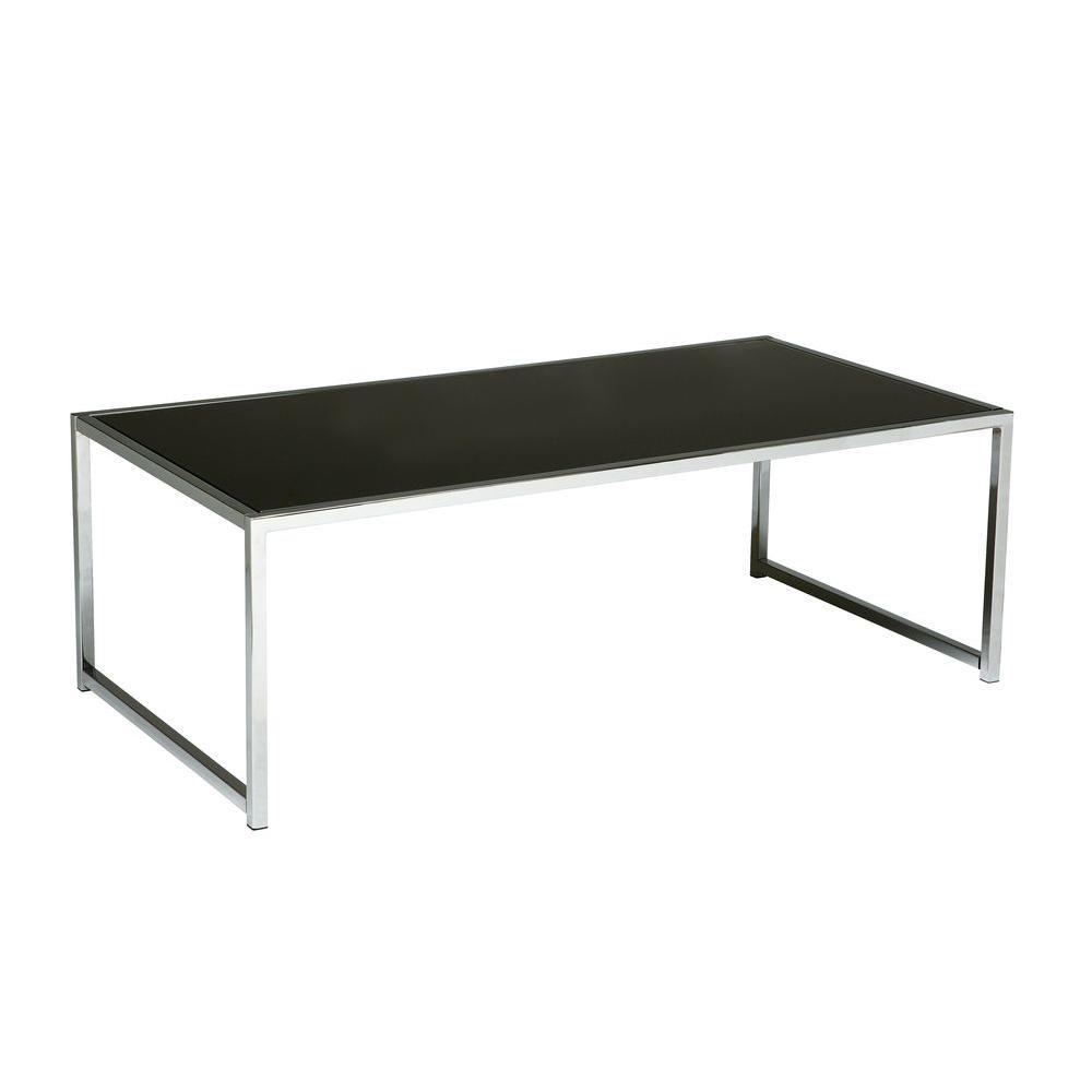Osp Home Furnishings Yield Chrome And Black Glass Coffee Table