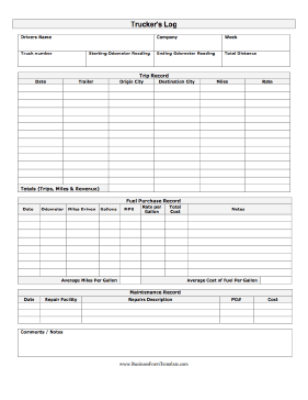 a printable log for a truck driver with complete trip record fields