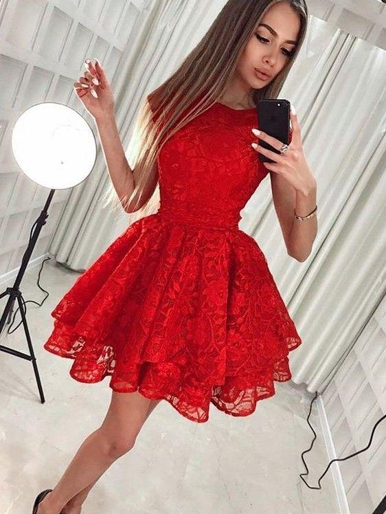 Fashion Rote Abendkleider Kurze Spitze Cocktailkleider ...