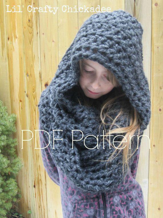 Crochet PDF PATTERN Hooded Infinity Scarf by lilcraftychickadee ...