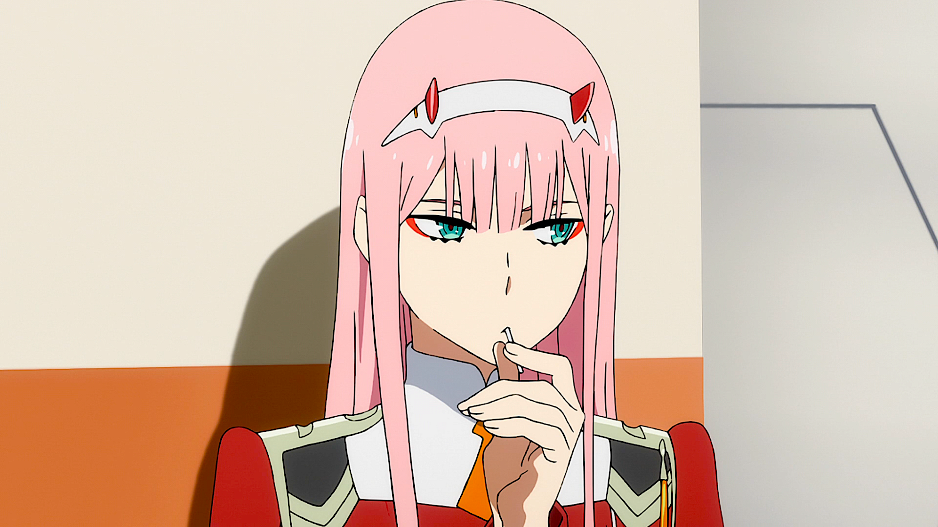 Anime Darling In The Franxx Zero Two Darling In The Franxx Pink Hair Green Eyes Horns Anime Wallpaper Darling In The Franxx Anime Anime Wallpaper