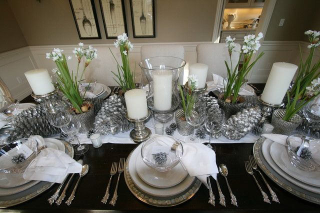 beautiful holiday table with forced paperwhites and spray painted cones christmas wedding centerpieces christmas table - Silver Christmas Table Decorations