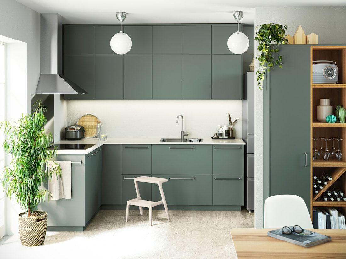 Cucina Componibile Bodarp Grigio Verde In 2020 Renovare