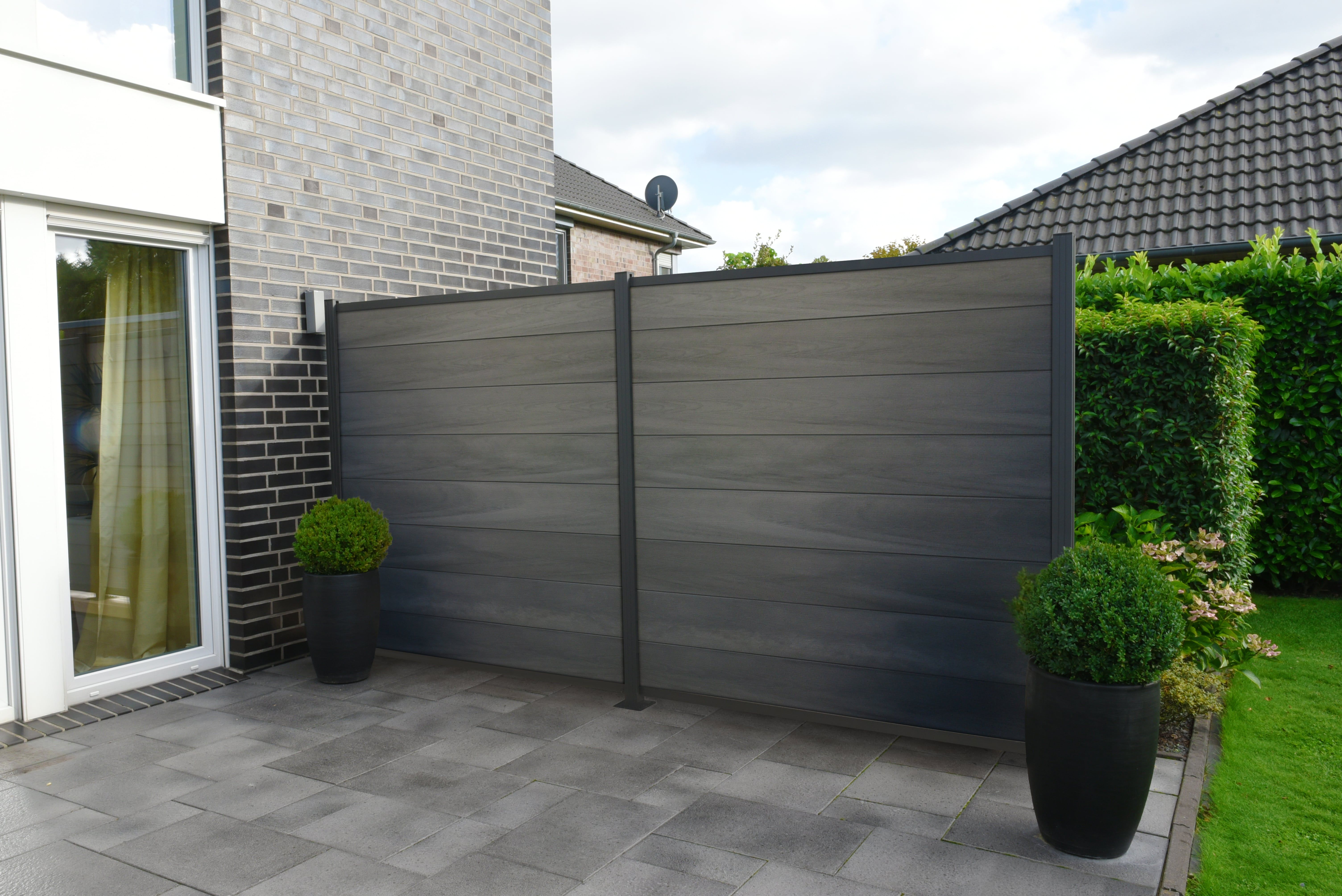 Bpc Steckzaun Sylt Co Extrudiert Greystone Anthrazit Ca 180x180 Cm Steckzaun Sichtschutzzaun Zaun