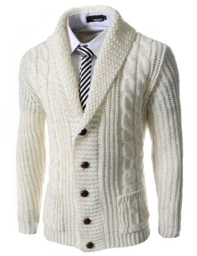 Yayu Mens Casual Long Sleeve Cable Knitted Button up Cardigan Sweater
