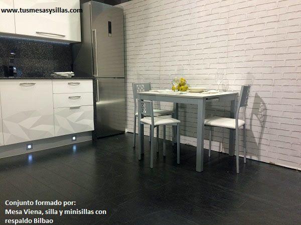 Mesa estrecha de cocina Viena y sillas Bilbao tapizadas | Sillas de ...