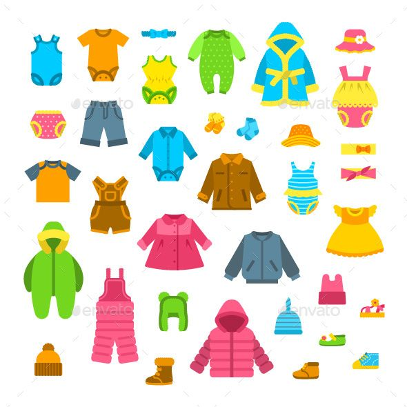 Baby Clothes Flat Illustrations Set Baju Anak Anak