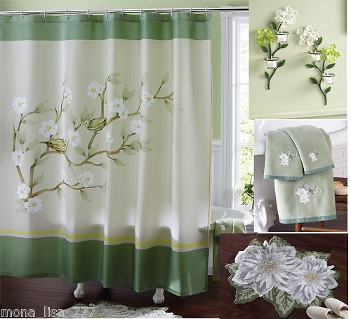 New Multi Bath Set Green Floral Magnolia Shower Curtain Wall Art Rug Towels