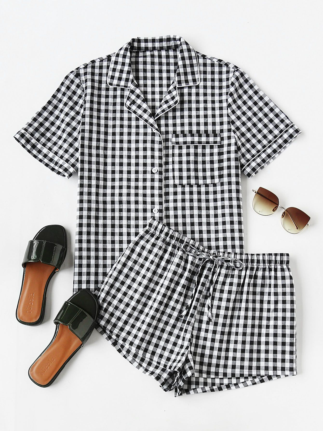 93d4b4ba31 SheIn offers Piping Detail Gingham Blouse And Shorts Pajama Set & more to  fit your fashionable needs.