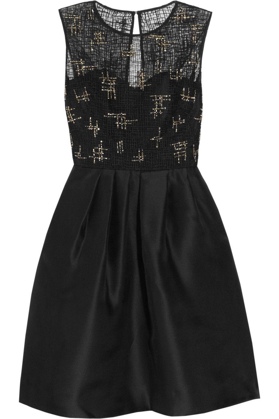 Lela Rose  Beaded lace and organza dress  NETAPORTER