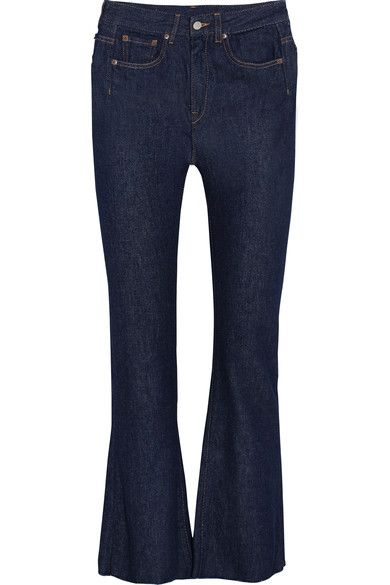 MM6 Maison Margiela - Cropped Frayed High-rise Flared Jeans - Dark denim