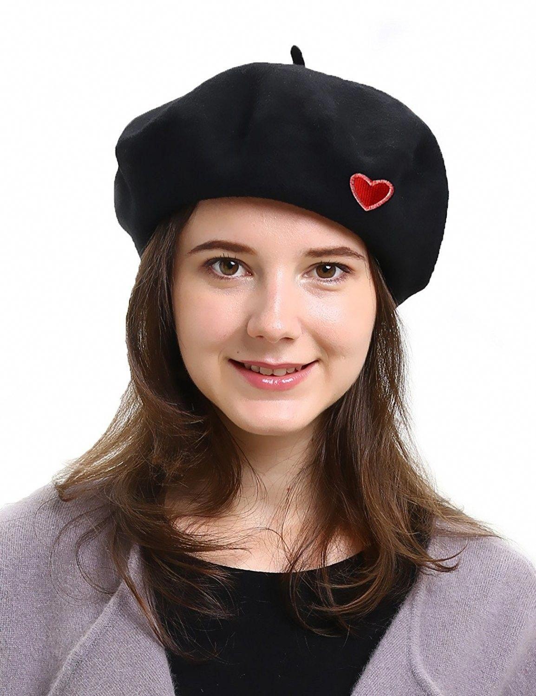 22b5a3b3bd0 Classic Womens French Berets 100% Wool Fall Winter Beret Beanie Hat - Heart- black