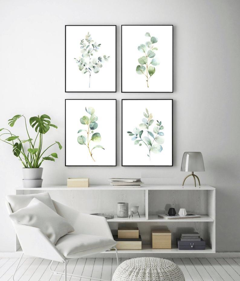 4 Watercolor Eucalyptus Prints Botanical Print Set Greenery Art