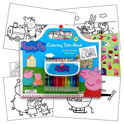Peppa Pig Coloring Tote Book With Handle Full Size Peppa Pig Sticker Sheet Plus 1 Separately License Coloring Stickers Coloring Books Peppa Pig Coloring Pages