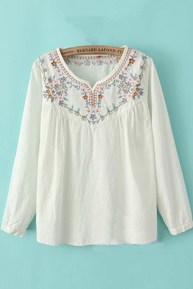 b973c771d1df Super Feminine Vintage Embroidered Neckline Loose Fitting Peasant Blouse   embroidered  peasant blouse  fashion
