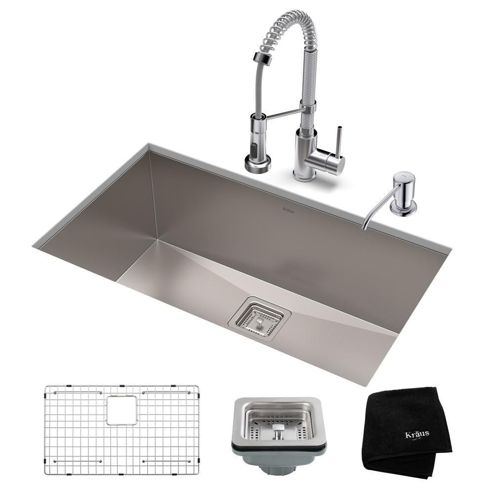 Kraus Pax All In One Undermount Stainless Steel 28 In Single Bowl