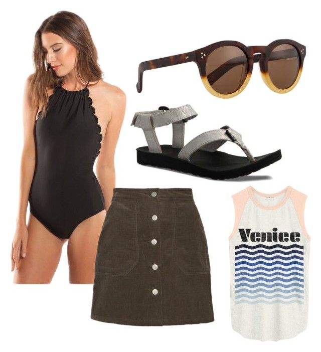 """""""Beach day"""" by marydooze1 on Polyvore featuring Vanilla Beach, Illesteva, Teva and Junk Food Clothing"""