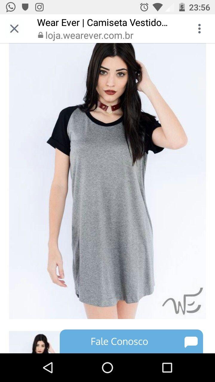 402a81ba6 Vestido camisa cinza e preto!