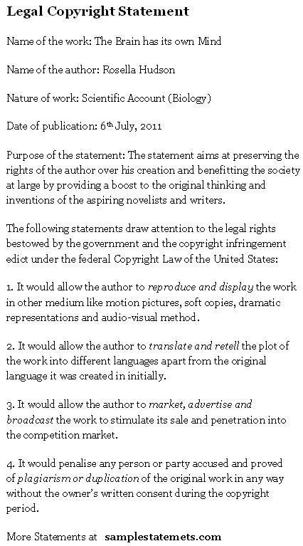 copyright statement sample