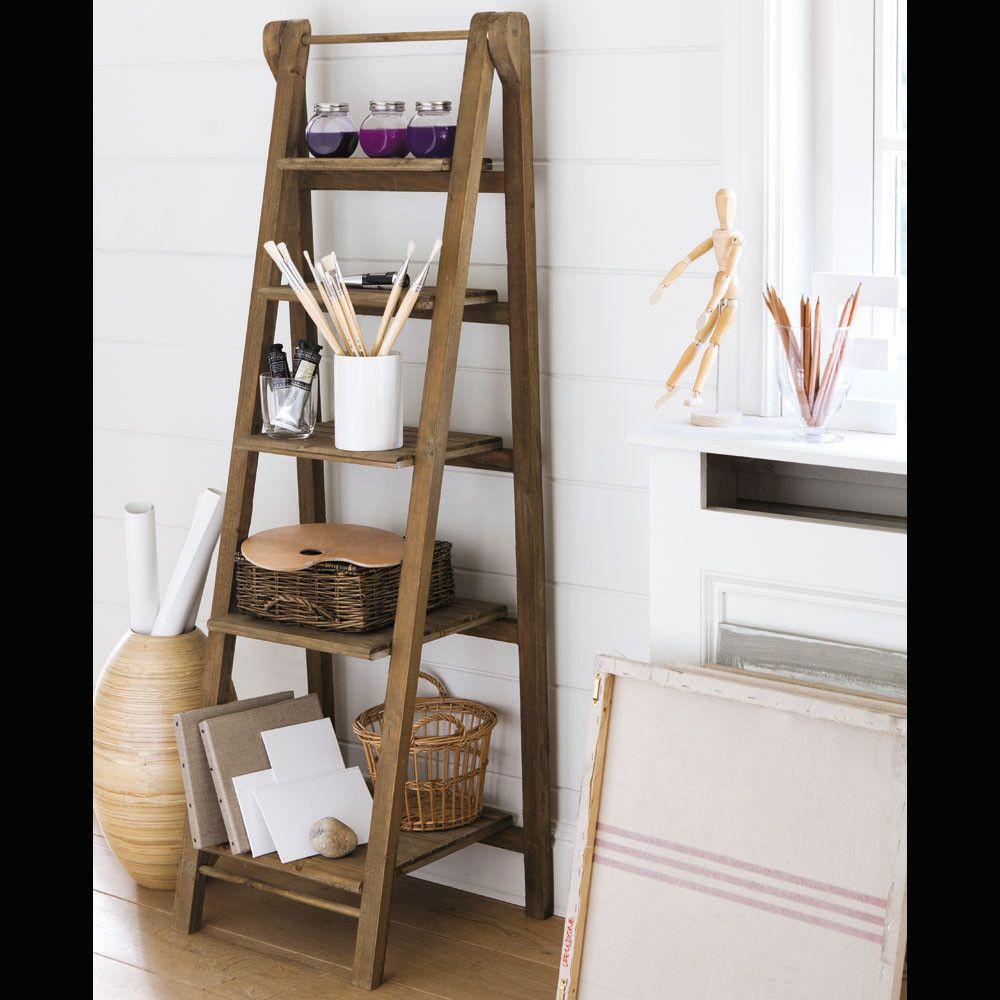 Estanter a escalera de abeto decoraci n boho pinterest estanter a escalera escaleras - Escaleras de madera decorativas ...