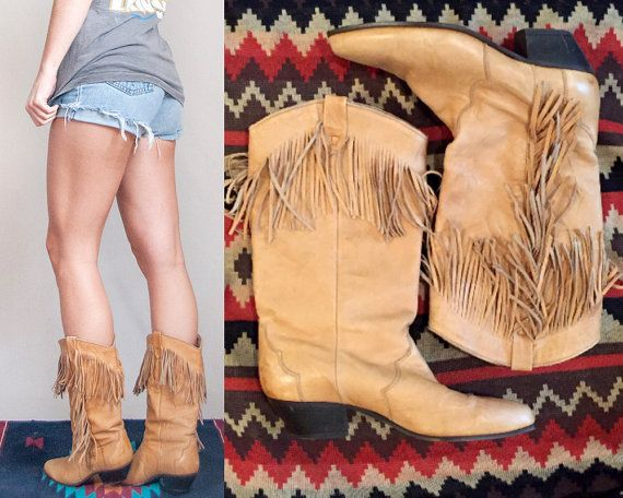 Tan Leather Fringe Boots womens Size 7.5 Size 7 | 80s womens ...
