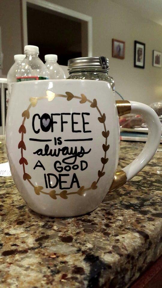 Originally plain white mug. I designed for friend for Christmas.
