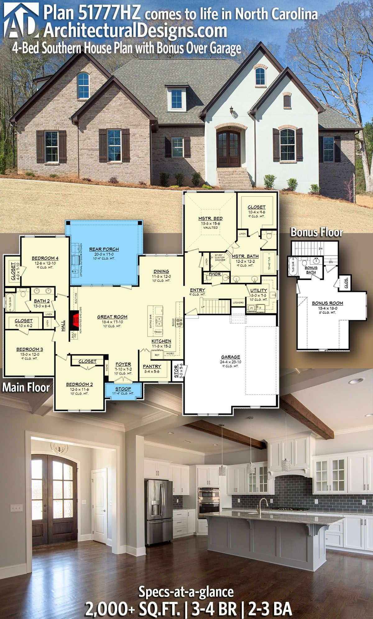 Plan 51777hz 4 Bed Southern House Plan With Bonus Over Garage In 2020 Southern House Plan House Plans Building A House