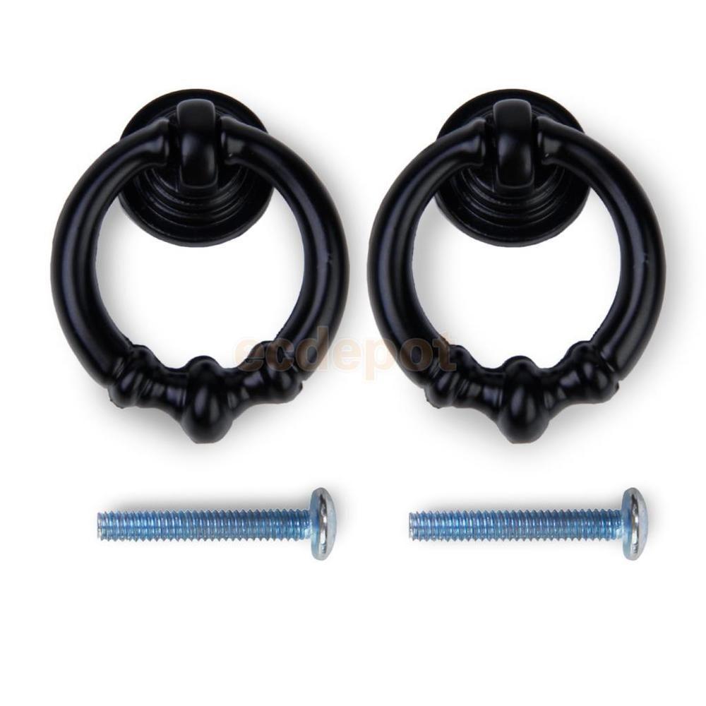 2 x Black Vintage Cabinet Knobs Drawer Dresser Cupboard Drop Ring Pulls Handle