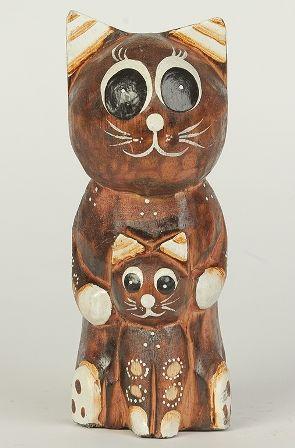 Фигурка Кошка с котенком 20см дерево Индонезия - v101039 ...