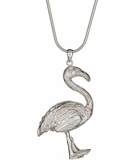 The PDB flamingo pendant necklace is inspired by the crazy croquet scene in Alice in Wonderland.