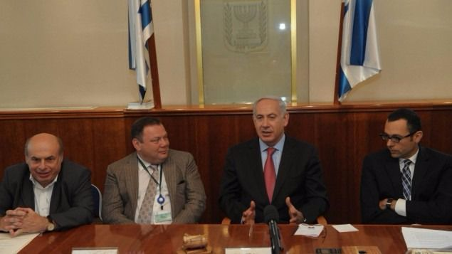 Is a Russian Jewish oligarch with Israeli citizenship and close ties to both Vladimir Putin and Benjamin Netanyahu a channel for secret cyber-communications between Donald Trump's presidential campaign and Russian authorities? From left to right: Nathan Sharansky, Mikhail Fridman, Benjamin Netanyahu, and Israel Housing Minister Gideon Hauser