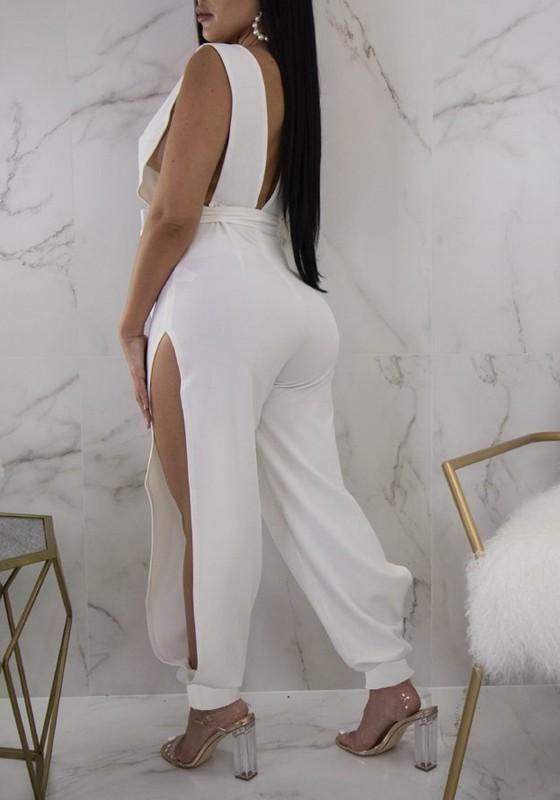d4ce35d81863 White Sashes Double Slit Backless Deep V-neck One Piece Clubwear Party Long  Jumpsuit