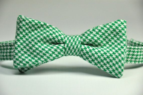 4908f6d56094 Boy's Bow Tie - Kelly Green Houndstooth Bowtie   Products   Boys bow ...