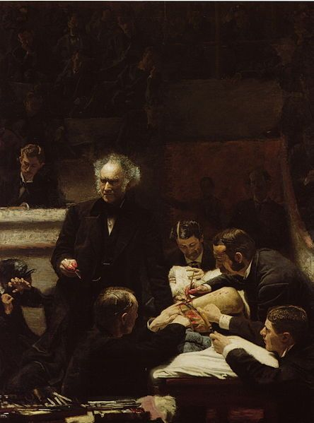 """The Gross Clinic"" by Thomas Eakins, 1875 --- One of my favorites from my intro to art history survey course at Mount Holyoke College. The more you look at it, the more detail you see. Like the blood on the scalpel, so delicate! They used to conduct surgeries in an amphitheater so young doctors could learn surgical techniques. Oddly enough, the architecture building at Tulane used to be their medical building, and the auditorium for my intro architecture survey course was originally one of…"
