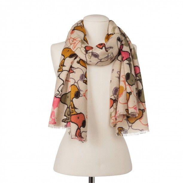 Top Design marktfähig niedrigerer Preis mit Flauschiger Schal mit Peanuts Snoopy beige   Vorsicht, jetzt ...