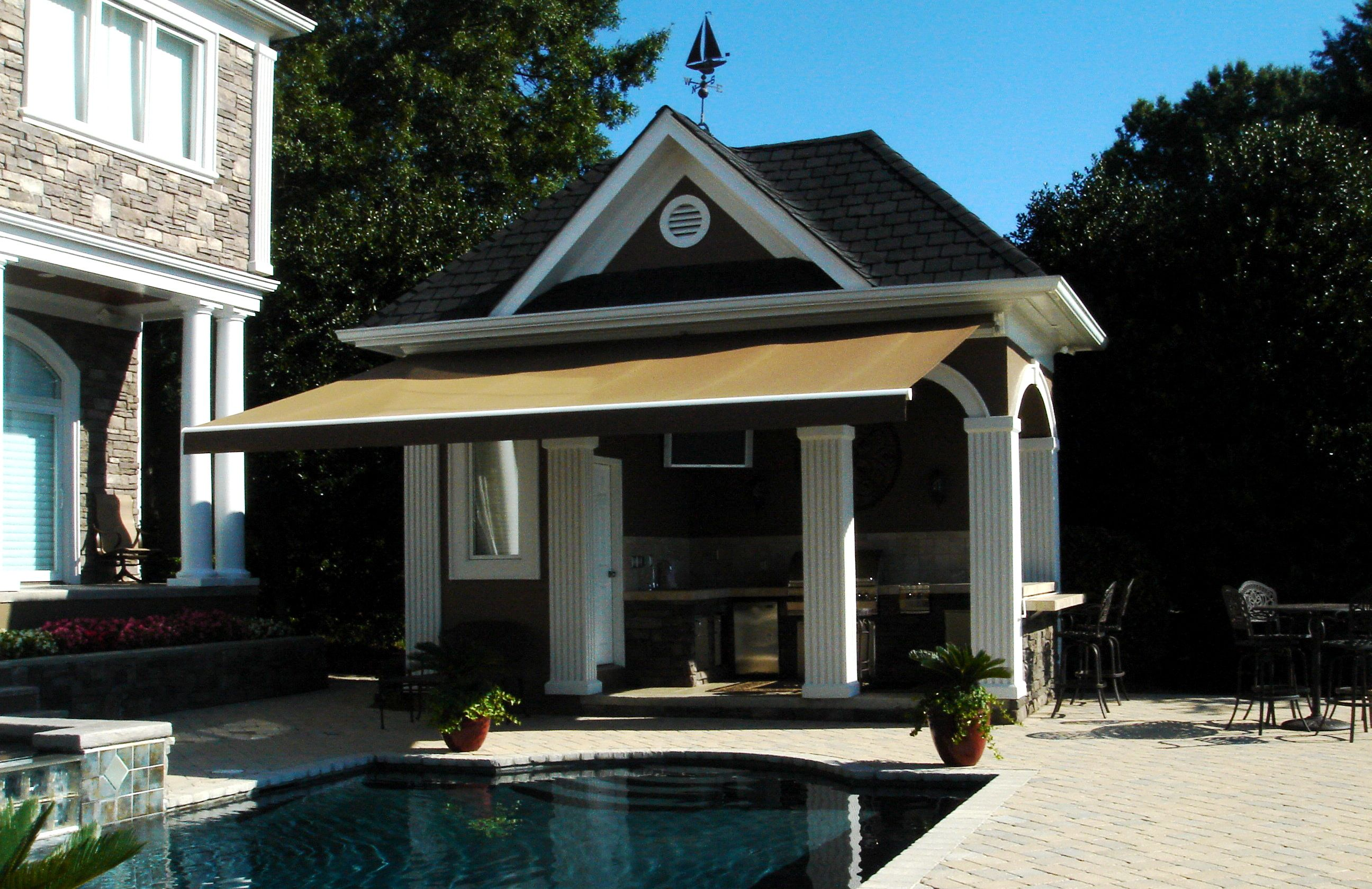Retractable Sunesta Awning Featuring @Sunbrella Fabric Over Pool Deck. By  Alpha Canvas U0026 Awning