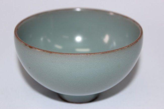 Good Chinese Pale Jun Glaze Porcelain Bowl On A Raised Circular Foot With Celadon Glaze D 9cm H 5 5cm Porcelain Bowl Chinese Pottery Porcelain