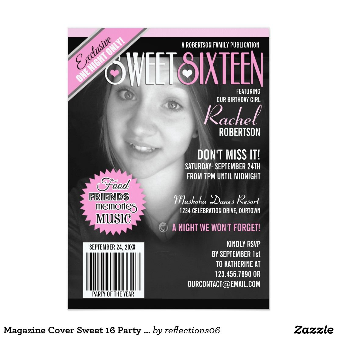 Magazine Cover Sweet 16 Party Invitation Turn your beautiful ...
