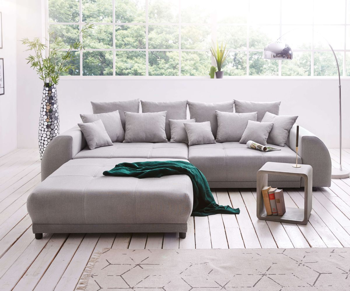 Big Sofa Violetta 310x135 Cm Grau Inklusive Hocker Sofa Hocker