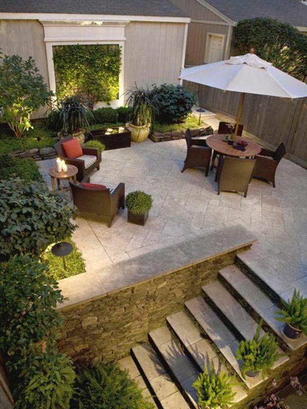 beispiele für moderne gartengestaltung patio sitzecke sonnenschirm - moderne gartengestaltung mit pool