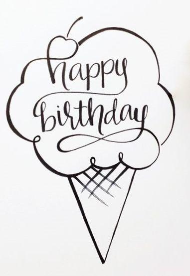 Happy Birthday - black white ice cream cone - color book ...