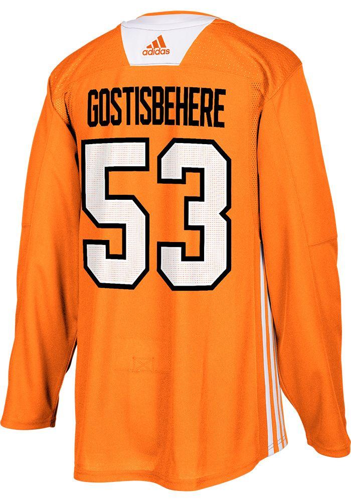 4eb7b661982 Shayne Gostisbehere Philadelphia Flyers Mens Orange Practice Hockey Jersey,  Orange, 100% POLYESTER,