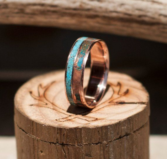 Men S Wedding Band 14k Gold Ring With Patina Copper Turquoise In 2 Channels Staghead Designs Turquoise Wedding Band Titanium Wedding Band Titanium Wedding Band Mens